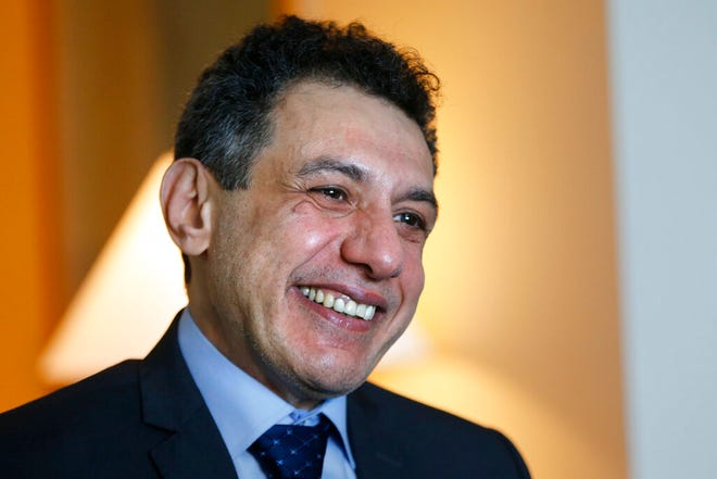 "Nizar Zakka a Lebanese citizen and permanent U.S. resident who was released in Tehran after nearly four years in jail on charges of spying, smiles during an interview with The Associated Press at a hotel in Dbayeh, north of Beirut, Lebanon, Wednesday, June 12, 2019. Zakka, an information technology expert, who was detained in Iran in September 2015 while trying to fly out of Tehran called on President Donald Trump to ""get back your hostages"" from Iran."
