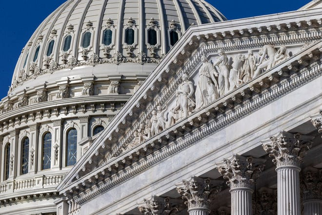 In this May 25, 2019, file photo the U.S. Senate and Capitol dome are seen on Capitol Hill in Washington. On Wednesday, June 12, the Treasury Department releases federal budget data for May.