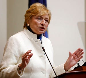 In this Feb. 11, 2019 file photo, Maine Gov. Janet Mills delivers her State of the Budget address in Augusta, Maine. Maine has become the eighth state to legalize medically assisted suicide. Mills signed the bill on Wednesday, June 12.