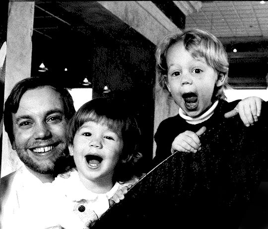 Jimmy Schmidt is seen at Tres Vite in 1991 with daughter Taylor Rene, 1 1/2, and son Stephen, 3 1/2. They were being photographed for a Detroit News article on the eating habits of the children of restaurant chefs. (The little Schmidts favored chicken fingers.)