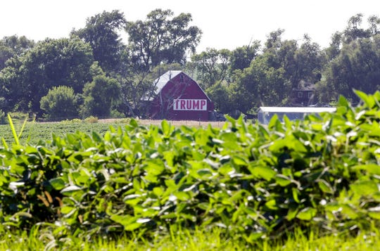 In this July 24, 2018, file photo a field of soybeans is seen in front of a barn carrying a large Trump sign in rural Ashland, Neb. President Donald Trump's boundless enthusiasm for tariffs has upended decades of Republican trade policy that favored free trade. It has left the party's traditional allies in the business world struggling to maintain political relevance in the Trump era.