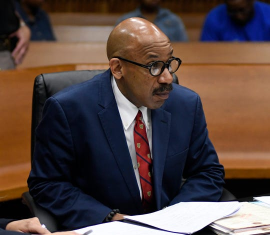 Marlon Blake Evans during a hearing in court in June 2018 at the Frank Murphy Hall of Justice in Detroit.