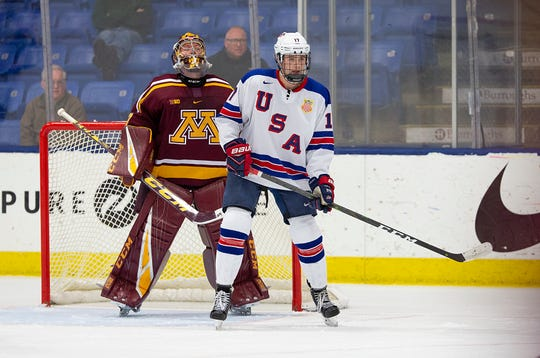John Beecher plays for USA Team Development Program's under-18 team against the University of Minnesota.