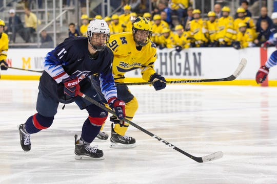 John Beecher plays for USA Team Development Program's under-18 team against the University of Michigan on Oct. 12, 2018 at Yost Ice Arena in Ann Arbor, Michigan. Beecher will play for Michigan starting next season.