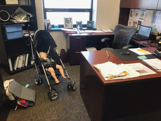 CEO Greg Wathen walked baby Faye around the office for 45 minutes before she fell asleep.