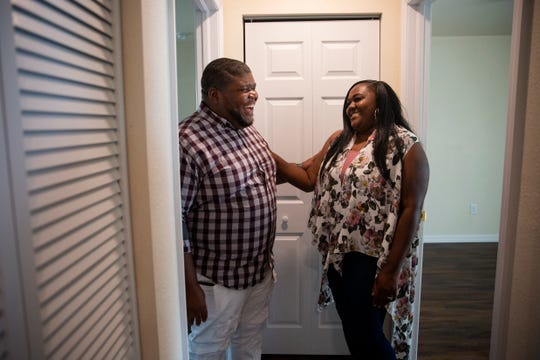 Gregory and Kortney Cosby talk about their new home, Wednesday June 12, 2019, in Fort Myers.