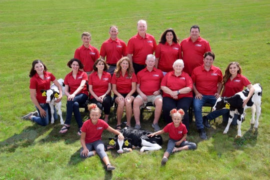 The Kinnard Farms family includes, back row from left, Jayce Kinnard, Jacob Kinnard, David Stewart, Jenny Siemers and Paul Siemers; middle row, Lauren Siemers, Joyce Kinnard, JoAnn Flood, Jackie Stewart, Rod Kinnard, Maureen Kinnard, Lee Kinnard and Hope Young; and front row, Olivia Kinnard and Lucy Kinnard.