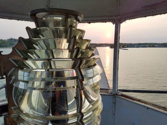 The Fresnel lens in the Kewaunee Pierhead Lighthouse was replaced this week by an LED light. The Fresnel lens was removed to the Kewaunee County Historical Society, where it is going on display.  The Fresnel lens in the Algoma lighthouse also was replaced and is going to the North Point Lighthouse and Museum in Milwaukee.