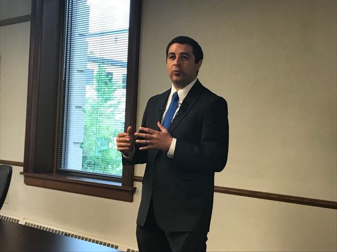 Wisconsin Attorney General Josh Kaul presents on legislation regarding sexual assault kits at a news conference Wednesday, June 12, 2019, in Green Bay.