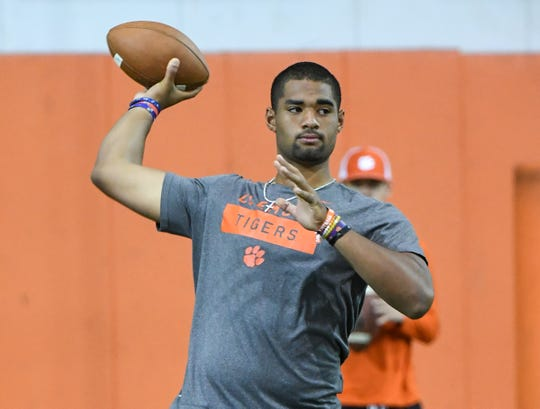 Clemson quarterback commit D.J. Uiagalelei, from St. John Bosco in California, warms up during the Dabo Swinney Football Camp Wednesday in Clemson.