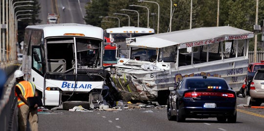 "FILE - In this Sept. 24, 2015 file photo, a ""Ride the Ducks"" amphibious tour bus, right, and a charter bus remain at the scene of a multiple fatality collision on the Aurora Bridge in Seattle. A jury in Seattle has awarded $4 million in damages to a Montana woman for injuries she suffered after being ejected from a duck boat tour vehicle in a crash that killed five college students and injured dozens. The Seattle Times reports the jury awarded the money Monday, June 10, 2019, to Rebecca Rhodes West of Billings, Montana. (AP Photo/Elaine Thompson, File)"