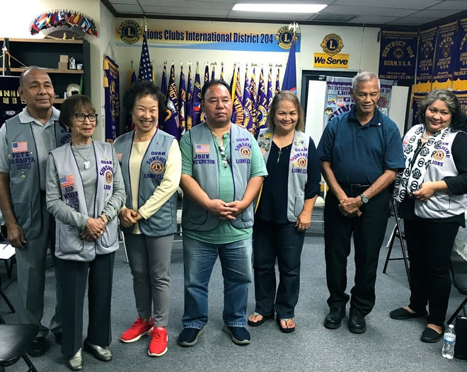 THE Guam Sunshine Lions Club inducted three new members on May 21. The new members are: Lion Tiger Kim (third from left, Guam Sunshine Lions Club), Lion John Concepcion (fourth from left, Guam Sunshine Lions Club), and Lion Frankie Salas, (sixth from left, Guam Un Guinaiya Branch Club).  Shown with the new members are: President Pete Babauta (far left),  Lion Sid Weedin, Lion Julie Cruz, and Lion Lorraine Rivera. Guam Sunshine Lions Club is the parent club of Guam Un Guinaiya Branch Club.