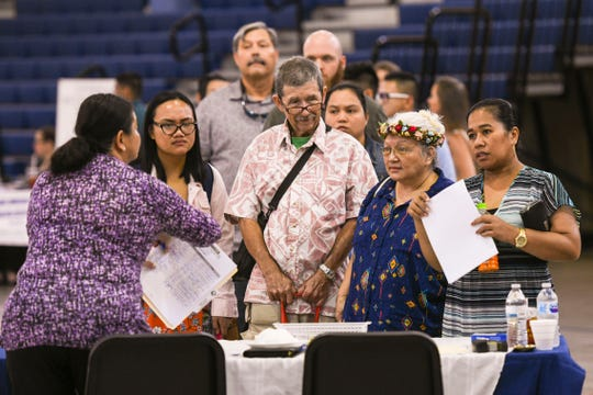 Hundreds of job seekers attend the Guam Department of Education's annual job fair at Okkodo High School in Dededo in this June 12 file photo. Education Superintendent Jon Fernandez said proposed budget for fiscal 2020 isn't enough to fund salary increments.