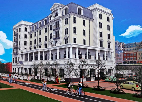 This is a rendering of the Carmichael Hotel at City Center, in Carmel.