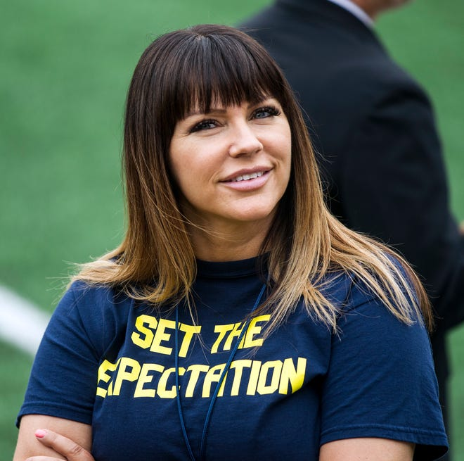Brenda Tracy, a sexual assault survivor and activist, travels the country speaking to college athletes.