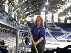 Butler's star in the background is longtime Hinkle housekeeper Vicki Devine