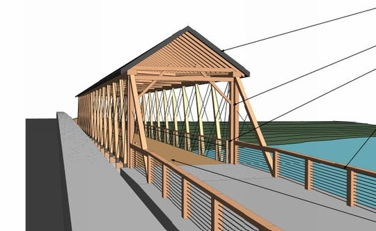Diagram of the reconstructed Bell Ford Covered Bridge