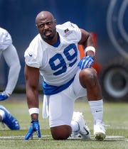 Indianapolis Colts defensive end Justin Houston (99) during the Colts mandatory minicamp at the Colts Complex on June 12.  Houston is coming off of back-to-back nine-sack seasons,