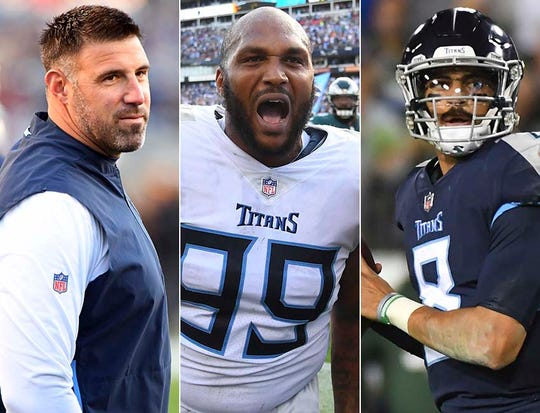 Coach Mike Vrabel (from left), Jurrell Casey and Marcus Mariota of the Tennessee Titans.