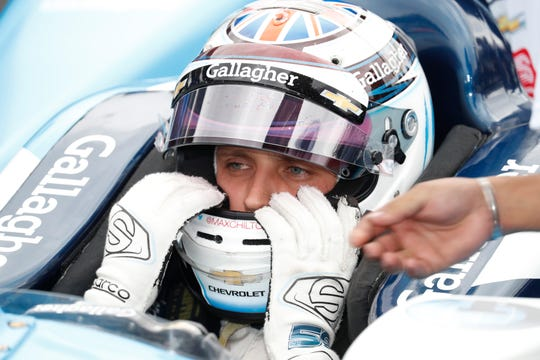May 19, 2019; Indianapolis, IN, USA; NTT IndyCar series driver Max Chilton waits in his car for his chance to qualify in the last row shoot out during qualifications for the 103rd Running of the Indianapolis 500 at Indianapolis Motor Speedway. Mandatory Credit: Brian Spurlock-USA TODAY Sports