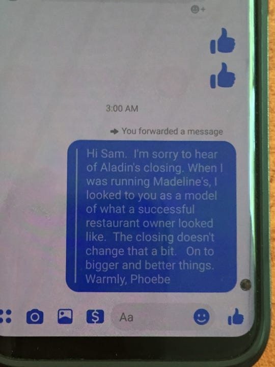 Sam Schuepbach received a text from Phoebe Ullberg, who once managed Madeline's Restaurant in Ithaca.
