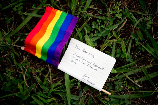 "A person who wished to remain unidentified dropped off a Pride flag with an attached note reading ""Dear Pastor Fritts, I don't know what happened to you, but I am so sorry. Love, Thy Neighbor"" at All Scripture Baptist Church in Knoxville on June 12, 2019. Fritts has come under fire for preaching in a recent sermon that the government should arrest and execute LGBTQ community members."