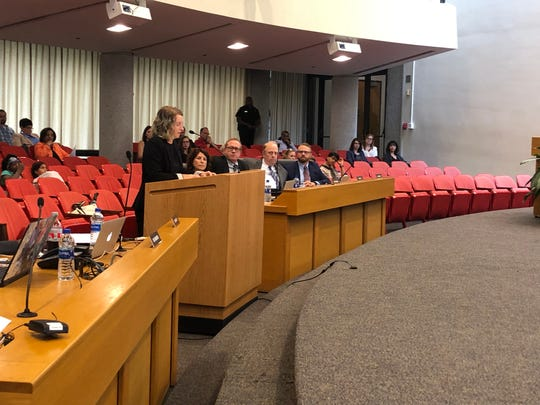 Caroline Rowcliffe, a former Knox County Student and co-founder of the group Just Educate, speak to the Knox County Board of Education about sex education curriculum on June 12, 2019.