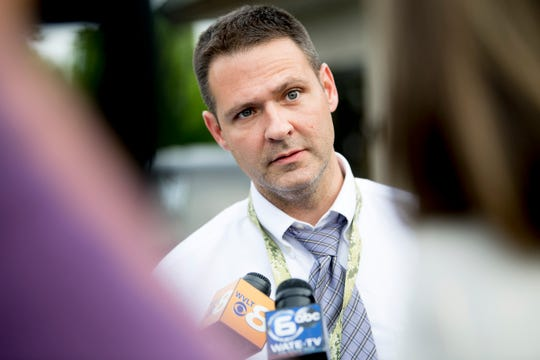 All Scripture Baptist Church Pastor Grayson Fritts, former detective, speaks with the media ahead of the Wednesday service at the church in Knoxville, Tennessee on Wednesday, June 12, 2019. Fritts has come under fire for preaching in a recent sermon that the government should arrest and execute LGBTQ community members.