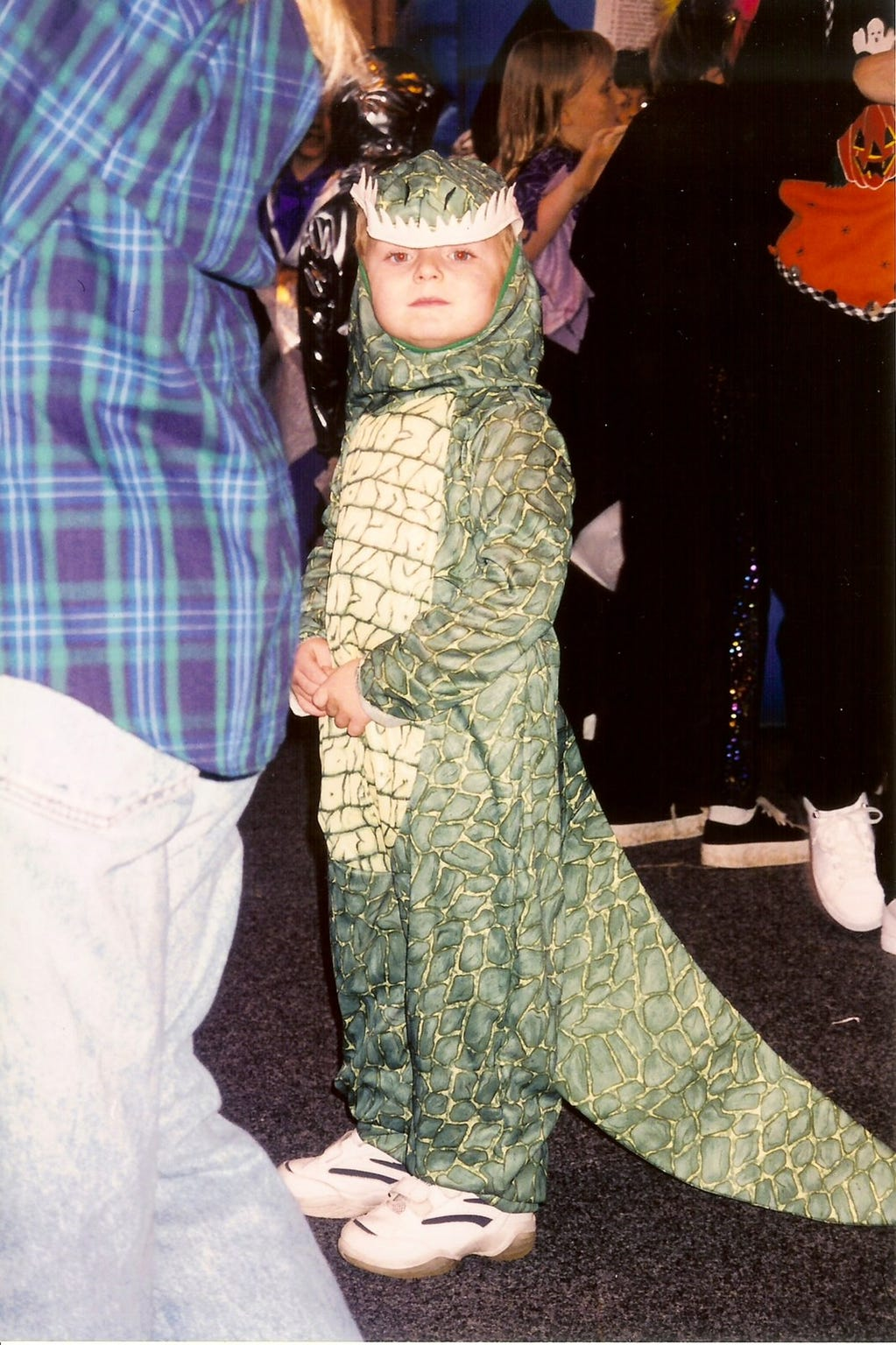 Purdue fifth-year senior forward Evan Boudreaux adopted his father's fascination with dinosaurs at a young age. He wore this costume for Halloween around age 4.