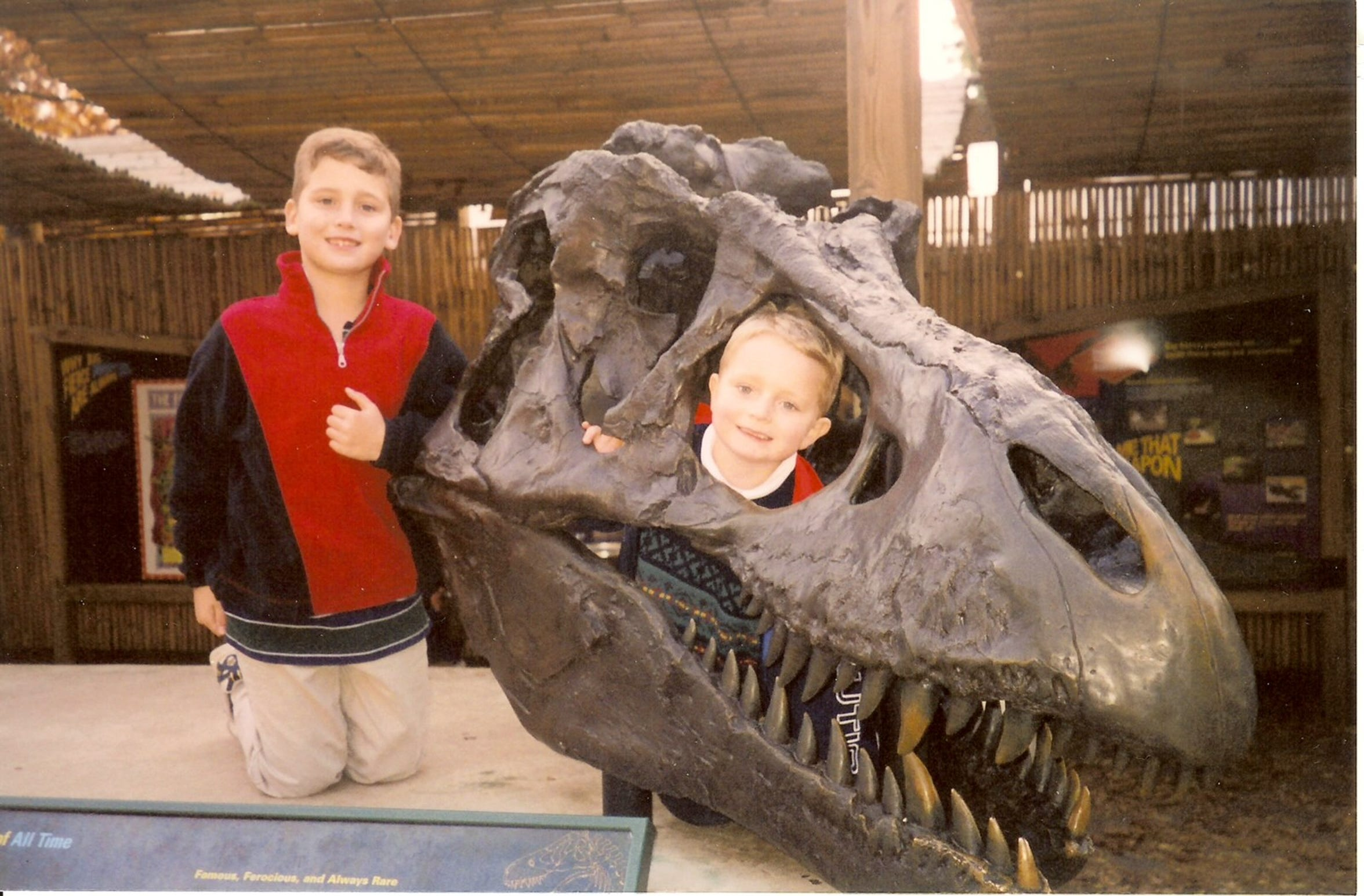 Purdue fifth-year senior forward Evan Boudreaux (center) and his brother, Chris, on a family trip to the Museum of the Rockies in 2006.