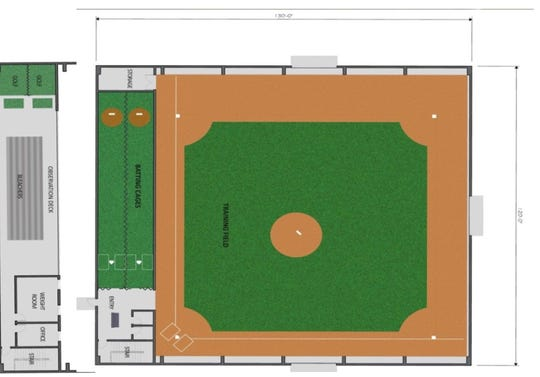This floor plan shows the components of planned 32,000 square foot training facility for the Fairfield County Baseball Complex Association of which Beavers Field on Granville Pike is a part. The new facility would be built on the same property as Beavers Field.