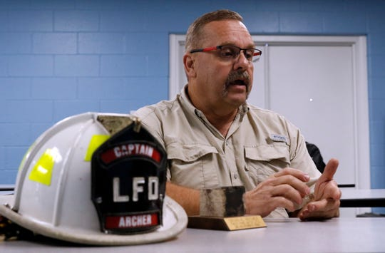 Brian Archer talks about his more than 30 years with Lancaster Fire Department Tuesday morning, June 11, 2019, in Lancaster. Archer, who had been a captain for the last six years, retired last week.