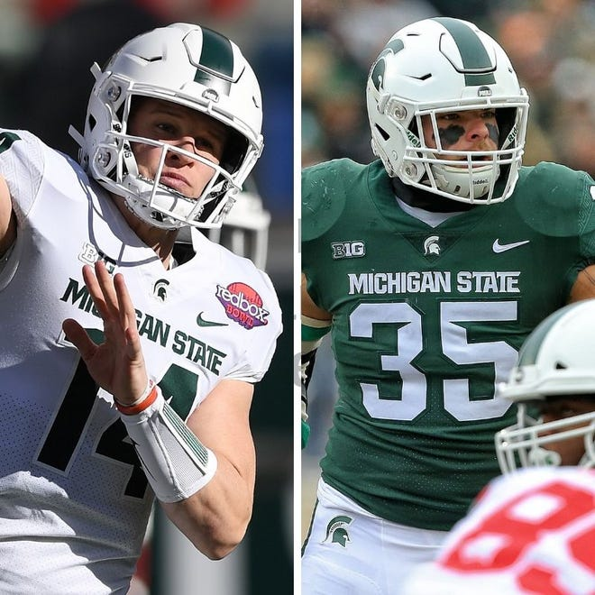 From left: Michigan State's Brian Lewerke and Joe Bachie.