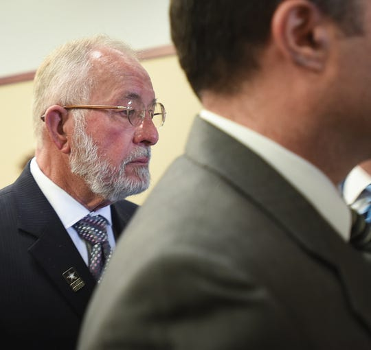 William Strampel, former dean at the College of Osteopathic Medicine at Michigan State University, leaves Ingham County Circuit Court after a jury found him guilty of misconduct in office and two charges of willful neglect of duty related to the Larry Nassar scandal, Wednesday, June 12, 2019, in Ingham County Circuit Court in Lansing.  Strampel was found not guilty of sexual assault.