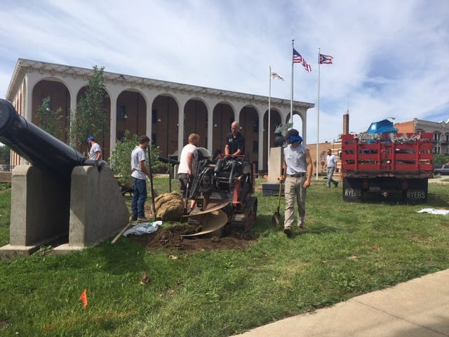 Eighteen new trees were planted Wednesday on the Richland County Courthouse lawn by Wade Gardens Landscaping and Gift Shop.