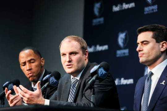Taylor Jenkins, the Memphis Grizzlies new head coach, speaks during a press conference at the FedExForum on Wednesday, June 12, 2019.