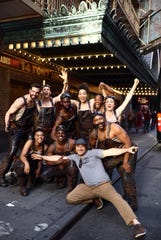 """Cast members of Tony Award-winning """"Hadestown"""" pose in New York City after performing at the Tony Awards on June 9. Brookfield native Timothy Hughes performs as a worker in the musical."""