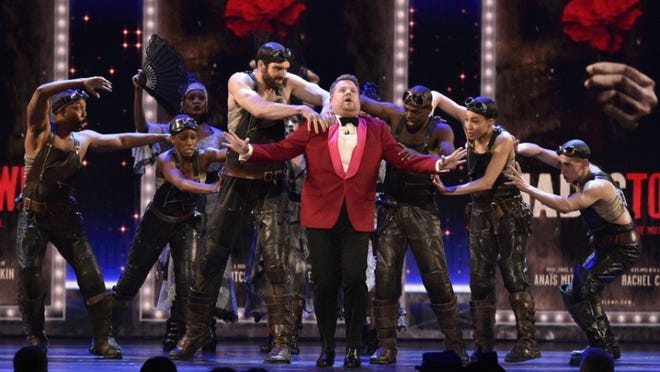 """The cast of Tony Award-winning """"Hadestown"""" performs during the opening number with """"The Late Late Show"""" host James Corden who returned to emcee the telecast on CBS on June 9."""