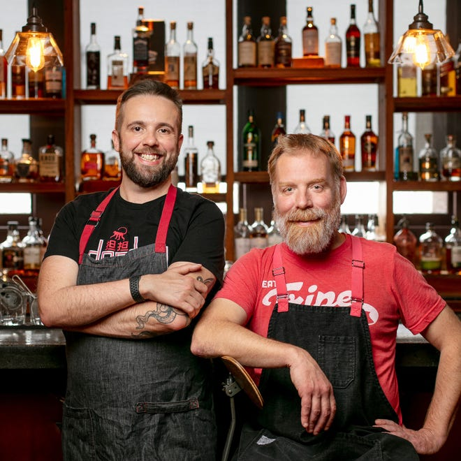 Chefs Dan Jacobs (left) and Dan Van Rite are designing the new restaurant, called Ash, at the Iron Horse Hotel. It will have an open hearth to prepare menu items.