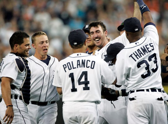 Detroit Tigers pitcher Justin Verlander, second from right, celebrates with, from left, Ivan Rodrigeuz, Brandon Inge, Placido Polanco and Marcus Thames after pitching a no-hitter against the Milwaukee Brewers in an interleague baseball game Tuesday, June 12, 2007, in Detroit. The Tigers beat the Brewers 4-0.