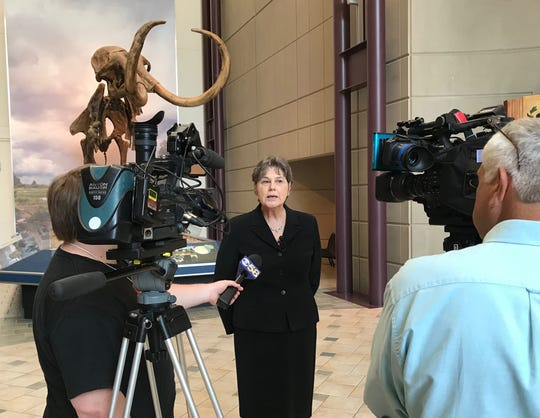 Ellen J. Censky talks to the media at Milwaukee Public Museum on Wednesday. Censky was named the  Milwaukee Public Museum's president and chief executive officer. She had served in those positions in an interim role since September 2018 after the abrupt resignation of Dennis Kois.