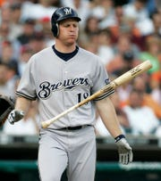 Milwaukee Brewers' Gabe Gross flips his bat after he struck out against Detroit Tigers pitcher Justin Verlander in the third inning of an interleague baseball game Tuesrday, June 12, 2007, in Detroit. Verlander struck out 12 and walked four while pitching a no-hitter in the Tigers 4-0 win.