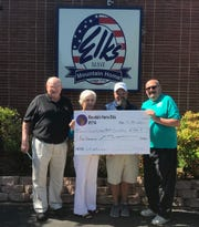 The Mountain Home Elks Lodge recently donated $500 to Twin Lakes Golf Club Junior Program. The donation helps sponsor the Junior Program Golf Clinic and Championship. Pictured are: (from left) Stuart Friend, Elks president; Sherie Brown, Elks grant coordinator; Matt Kemp, TLGC Pro Shop manager; and Ron Ronstadt, Elks youth activities chairman. For more information call TLGC at (870) 425-2028.