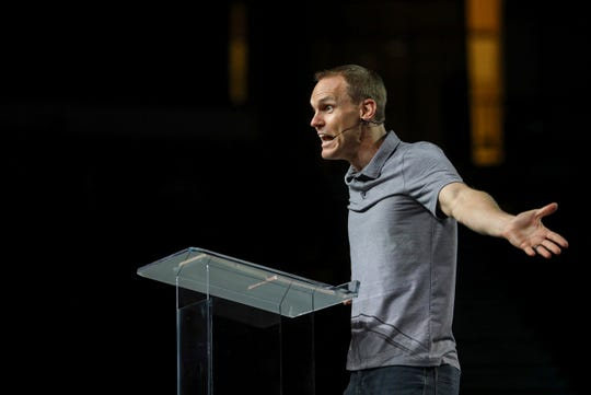 David Platt speaks at the Pastor's Conference at the Southern Baptist Convention on Monday.