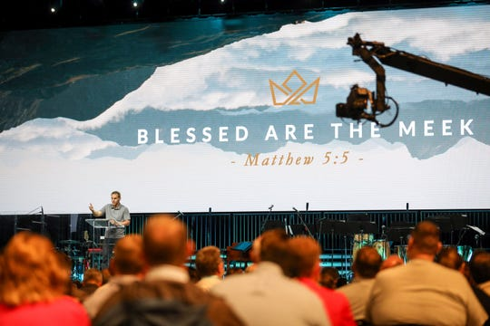 David Platt, former president of the International Mission Board and a current pastor at McLean Bible Church in Virginia, speaks at the Pastor's Conference at the Southern Baptist Convention on Monday, June 10, 2019, in Birmingham Ala. ( Jon Shapley/Houston Chronicle via AP)