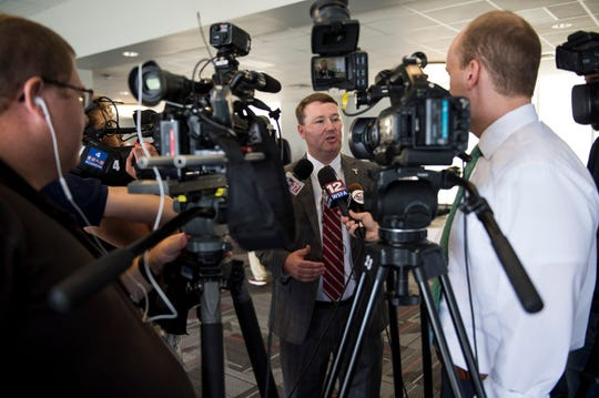 New Troy athletic director Brent Jones speaks with the media at Troy football stadium  in Troy, Ala., on Wednesday, June 12, 2019.