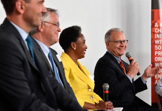 Rep. John Ray Clemmons, At-large Councilman John Cooper, retired Vanderbilt professor Carol Swain, and Mayor David Briley participate in a mayoral forum Wednesday, June 12, 2019, in Nashville, Tenn.