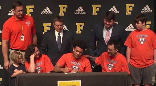 Fairview High's Hiller Gray signed to play football at UT Martin on April 26, 2019.