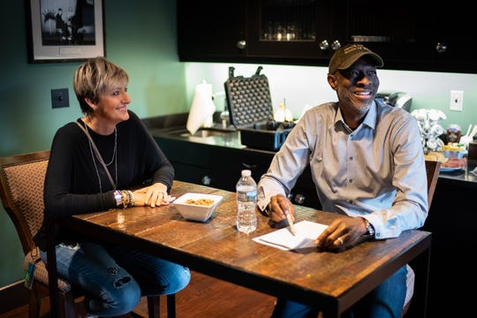 Keb' Mo' and his wife Robbie Moore prepare backstage before a concert at the Franklin Theatre in Franklin, Tenn., Friday, June 7, 2019.