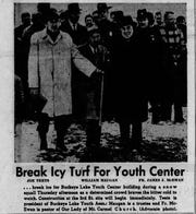 Joe Teets, William Maugan, and FR. James J. McEwan at the ground-breaking of the Buckeye Lake Youth Association. Maugan donated the first $25, or $180 today, to the youth center.